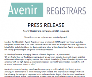 Avenir Registrars Completes 250th Issuance