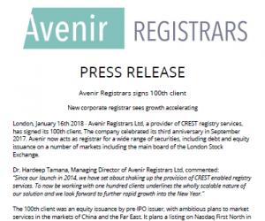 Avenir Registrars Signs 100th Client