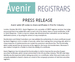 Avenir Adds QR Codes To Share Certificates In First For Industry