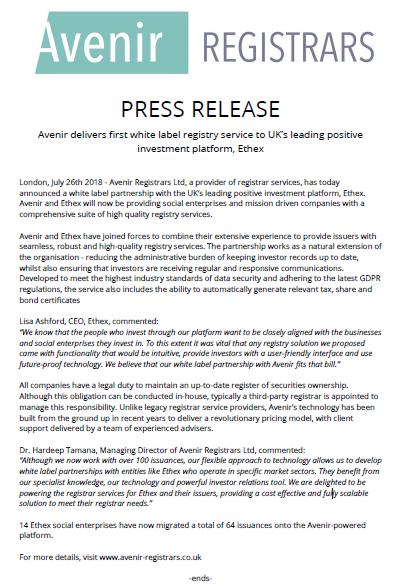 White Label Registry Service To UK's Leading Positive Investment Platform, Ethex