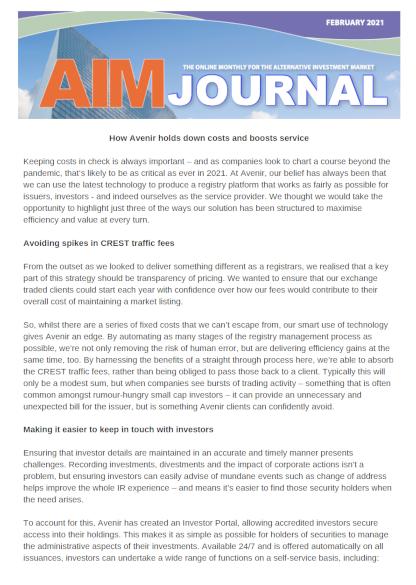 AIM Journal Feb 2021